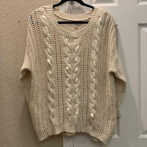 LC Lauren Conrad Cream Knit Sweater